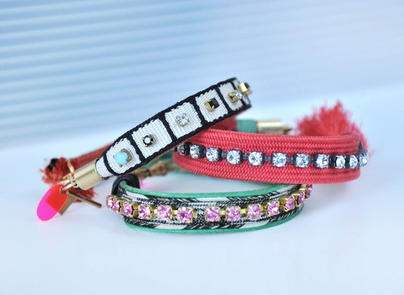 Reserved for louisebeez33 Vintage silk black white and coral bracelet. Please don't buy.