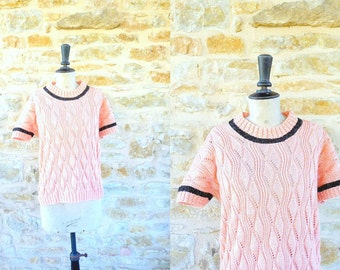 Vintage 1980s Salmon and Black Wool Sweater