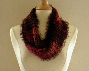 Crocheted Womens Shades of Burgundy Infinity Scarf
