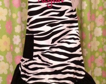 Personalized Monogrammed Child Ruffled Apron in Zebra Print