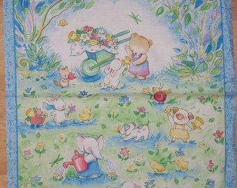 A Wonderful Forest Friends by Becky Kelly  Fabric Panel Free US Shipping
