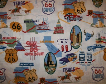 A Wonderful Route 66 On The Road Again Cotton Fabric by the yard Free US Shipping Printed in 2002