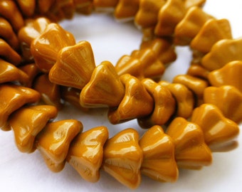 25  Czech Glass Bell Flower Bead in Opaque Mustard Yellow  5.5x9mm