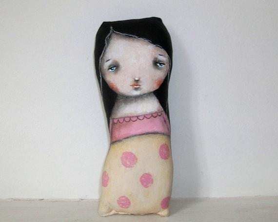 Whimsical art folk art doll polka dots original painting Mixed media art doll soft sculpture - Rebecca