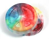 2 Peace Soaps - Tie-Dye, rainbow, marble, hippie, hippy, 60s, 70s, unique, party favor
