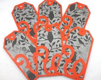 Six Creepy Halloween Tags - gift tag, label, raven, cat, bat, spider, black and orange, iron