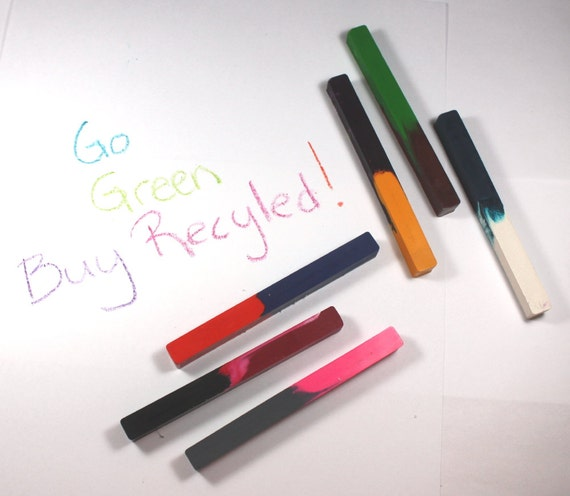 Back to School, School Supplies, Recycled Two-Color Crayons - Set of 6, 12 colors - square crayons, reuse, repurpose, upcycle, party favor