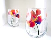 2 Color Splash Poppy Autumn Wine Glasses - Stemmed or Stemless - Fall Hosting Set