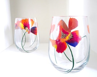 2 Color Splash Poppy Autumn Wine Glasses - Stemmed or Stemless - Fall Hosting Set