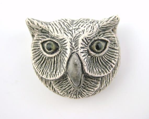 White Owl Beads - Pottery Beads Owl Pendant Grey Owl Charms 4pcs