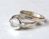 Bridal set, Engagement & wedding, Engagement rings, silver sterling rings, gift for her, promise rings, Lab diamonds rings, Wedding set