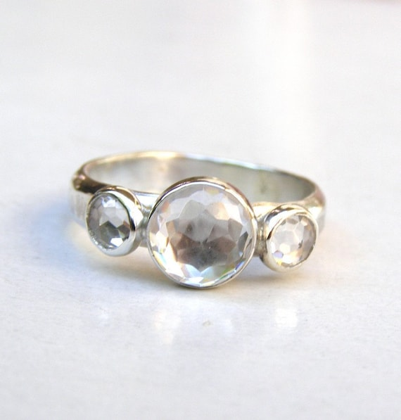 Engagement Ring -Holiday Topaz  silver ring  - Recycled silver sterling ring Similar diamond stone