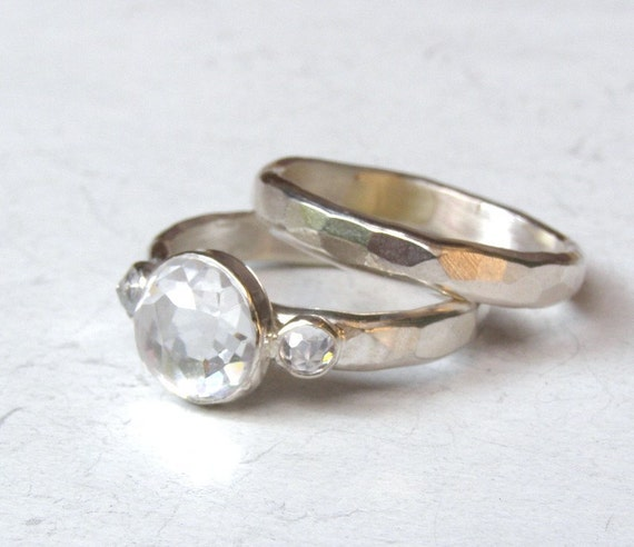 Set Engagement Ring and wedding ring -Topaz ring silver ring  - Recycled silver sterling ring Similar  diamond stone