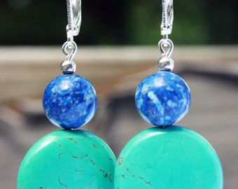 """Western Round Dangle Turquoise Lapis Lazuli Earrings Sterling Silver Plated Big Large stone dark blue light dangle circle for her 2"""" gift"""