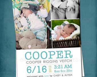 3 Photo Modern Type Simple and Sweet Birth Announcement or Invite by Tipsy Graphics. Any colors