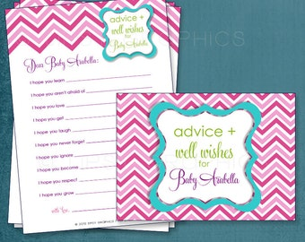 Multi Chevron. Baby Wishes. Baby Stats. MadLibs.  Printable Cards, any Colors. By Tipsy Graphics