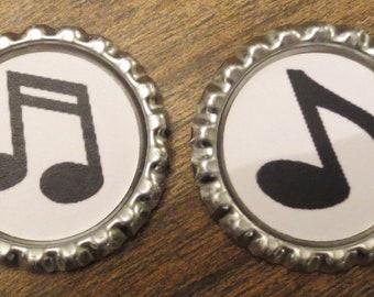 Music Note Bottle Cap Magnets