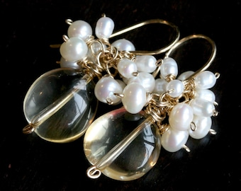 Citrine and freshwater pearl cluster earrings, 14k gold filled, yellow, white pearls, cluster, dangle, Mimi Michele Jewelry