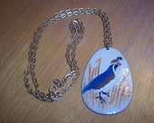 Vintage Avon goldtone chain with handpainted enameled copper pendant, ring-neck pheasant
