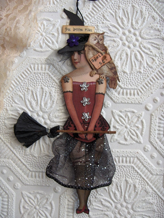 Halloween Witch Altered Art Paperdoll Victorian Goth Style with Mechanical Arms/Legs Ornament/Home Decor