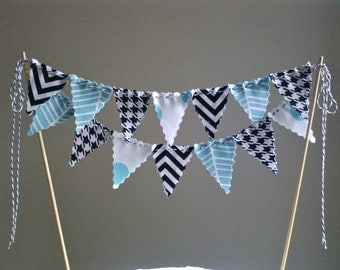 LIttle Man Cake Bunting Modern Prints Black and Aqua Chevron, Houndstooth, Herringbone, Dots