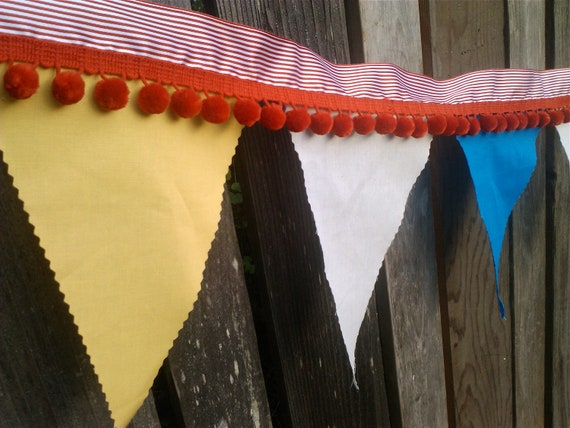 Bunting - Big Top Vintage Style Circus Bunting with jumbo red pom poms