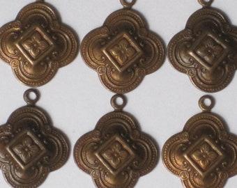 "15 x 15 mm ""Fancy Clover Drop""  Trinity Brass Vintage Patina  (Qty 6)    115-06-AP"