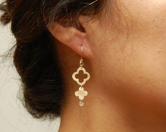 14K Gold Tiered Lucky Clover Earrings
