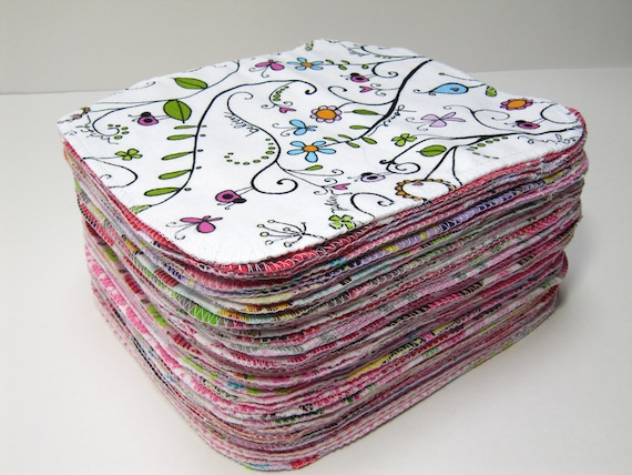 Reusable Cloth Wipes - 50 Girls Mixed Prints Set - Eco Friendly