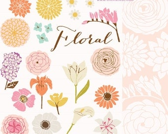 CLIP ART and Photoshop Brushes - Floral - for commercial and personal use