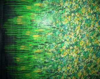 2 yds of Stunning Double-Border  Floral Print Green/Yellow/Black/Cream  Silk Chiffon