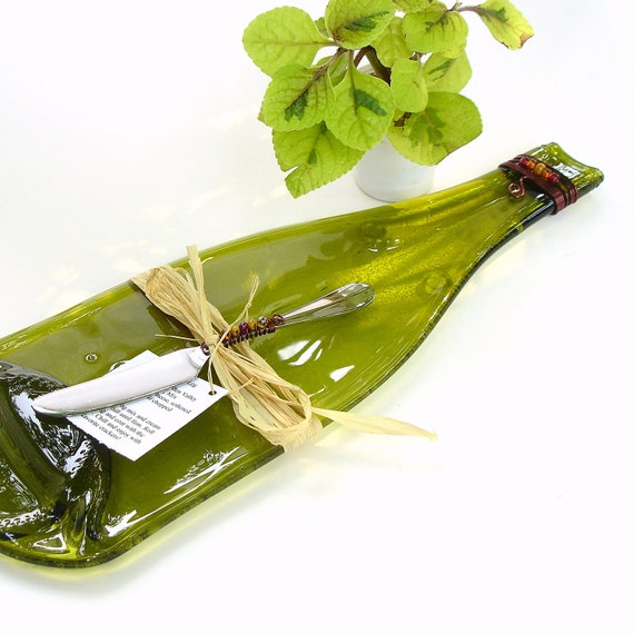Wine Bottle Cheese Board, Melted Glass Bottles