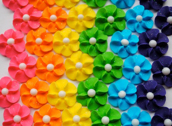 Royal Icing Flowers- Rainbow Mix with sparkles and white sugar pearl center (30)