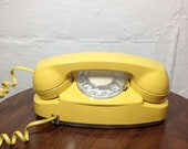 Yellow Rotary Phone Mid Century Modern Sunshine Yellow Telephone - TheDirtyLoft