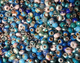 15 Beads Blue Colored    Mixed Large Hole  Beads fit European Jewelry -