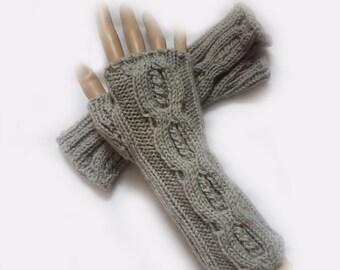 Grey Fingerless Gloves, Fingerless Mittens, Arm Warmers, Mittens, Knit Winter Accessories, Fall Fashion