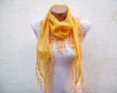SALE % 20 - Was 18 Now 14,4-  Turkish Fabric Scarf-Guipure Scarf -Yellow-Fringed