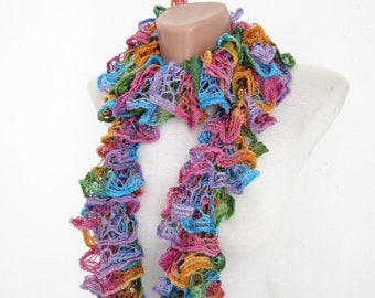 Scarf, Colorful Knit Scarves, Frilly Foulard, Ruffle Accessories, Knitting Sashay Scarf, Lace Neckwarmer, Women Cowl, Purple Yellow Pink