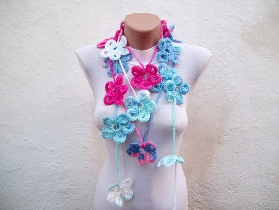 Scarf,Flower Scarf,Crochet Lariat Scarf,Lariat Scarf,Necklace