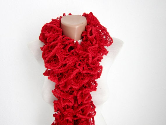 Red Knit Scarf Fall Fashion Frilly scarf Ruffled Scarf Holiday Accessories Spring Celebrations