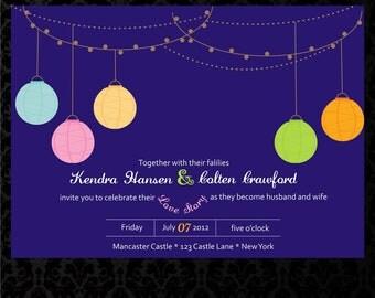 Lantern Printable Wedding Invitation with Response