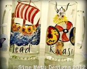 Viking Mead Steins Set of Two Hand Painted Enameled Bar Glass