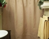 Burlap Shower Curtain - Black Stripe Trim - Rustic - Country - French Chic