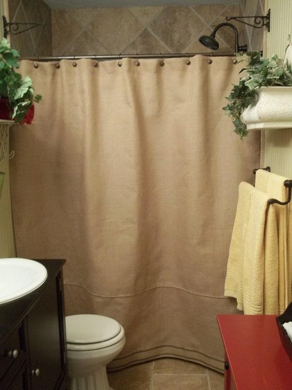 Items Similar To Burlap Shower Curtain Black Stripe Trim