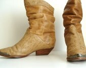 RESERVED Vintage Faux Croc Skin & Leather Slouchy Cowboy Boots / Cowgirl Boots, Ankle Boots, US 5