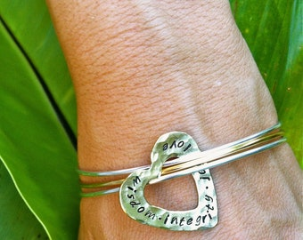 ONE DAY SALE--New Silver and Gold Mixed Metal Bangle Bracelet with Floating Brass Heart