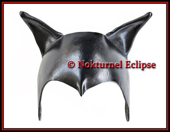 Catwoman Leather Headpiece / Mask Batgirl Superhero Batman Geek Comic Con SDCC Gotham Cosplay Halloween Costume - Available Any Basic Color