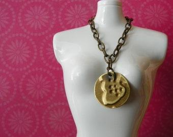 necklace for Blythe - embossed brass acorn design B189
