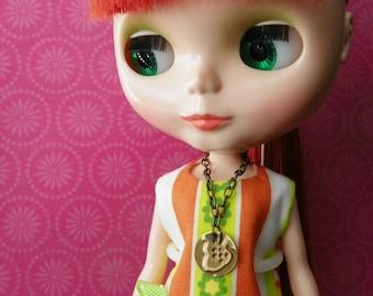 necklace for Blythe Barbie embossed brass acorn design B189