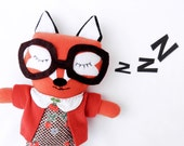 Louise the retro red fox plush with brown glasses